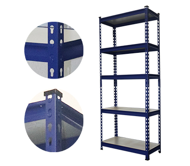 Hardy Hole RZ-3518-5ZH Dark Blue Steel Storage Rack,5 Adjustable Shelves,175 kgs each shelves,z-beams,Anti-rust power coated,35*18*70 Inch-RZ-3518-5ZH
